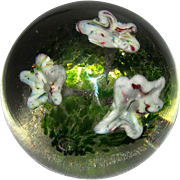 REDUCED Large Art Glass Floral Paperweight