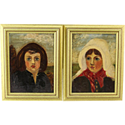 SALE Pair Of Naive Oil Paintings On Canvas  - Girl and Boy - Framed