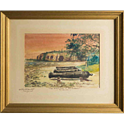 "SALE WILEY CHURCHILL (American, 1900-1987) Signed Original Watercolor ""The Silent Guns of"