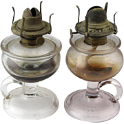 TWO Antique Glass Oil Lamps