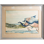 SALE Original Large Watercolor, Signed, By Noted Artist and Illustrator  William Sauts ...