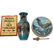 "Native American Vase (Hand-Painted Hozoni), Drum (With Eagle and scenery) and Book ( ""Ind"