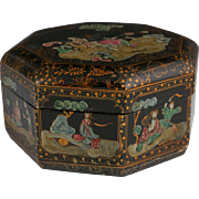 SALE Antique Chinese Lacquered Octagonal Wedding Box, C. 1900