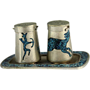 SALE Turquoise Hunt Scenes Inlaid In Mexican Silver Salt and Pepper Shakers With Tray