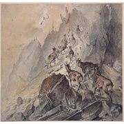 SALE Austrian School, (19th century) Watercolor, Goats Ascending A Hill
