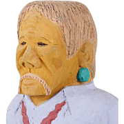 Johnson Antonio (Native American, b. 1931 - ) Wood Carving, Older Man in Blue Shirt With ...