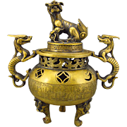"Handmade Chinese Brass ""Double Ears Three Legs"" Incense Burner With Qianlong Mark"