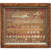 "Antique Needlework Sampler, With Animals, Alphabet, and Numbers, Signed/Dated ""Friederike"