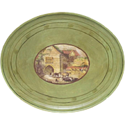 SALE Large Oval Hand-Painted Tray With Medallion-Type Center With Bucolic Scene