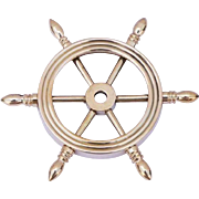 SALE Nautical Solid Brass Ship Wheel Paperweight