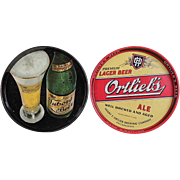 REDUCED TWO Vintage Beer Trays  - Tuborg Beer and Ortlieb's Ale