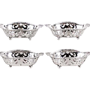 SALE FOUR Tiffany & Co Sterling Silver Nut Dishes, Ball Feet, Gadrooned (Beaded) Edges