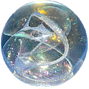 SALE Signed and Dated Art Glass Paperweight by R. W. Stephan, 1984.