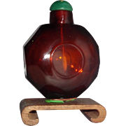 Faceted Ruby Red Glass Snuff Bottle, Qing Dynasty