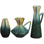 SALE THREE Lovely Pieces of Belgian Art Pottery