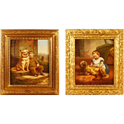 SALE Pair Of 19th Century Italian Oil Paintings Of Children With Dogs