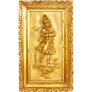SALE 19th Century Large Austrian Plaque Of A Young Girl, Signed