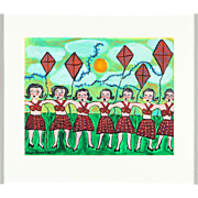 "SALE SARAH RAKES (American b. 1955) Original Oil ""Paperdolls Dancing With Kites"""