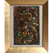 """REDUCED Original Mixed Media On Linen,  """"Out on the Road Pick up the Pieces Again ..."""