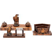 REDUCED Carved Wood Desk Set, American, Ink Stand, Calendar Stand and Letter Rack, Each With .