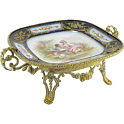 REDUCED Antique Fine French Gilt Bronze And Chateau De Tuileries Hand-Painted Sevres Porcelain