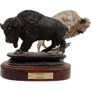 "REDUCED TWO Buffalo Sculptures, One Ltd. Edition ""Herd Sire"" by Adams, Signed and Da"