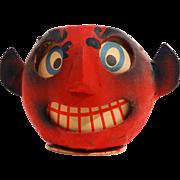SALE PENDING Unusual German Papier Mache Red Devil Jack-O-Lantern/Candy Container