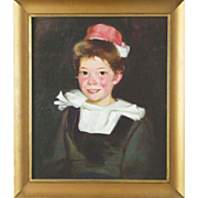 REDUCED Antique Oil On Canvas Portrait Of Young Girl, Signed/Dated 1912