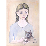 "TSUGUHARU FOUJITA (Japanese 1886-1968) ""Fille Avec Chat""  Gouache On Paper, Signed a"
