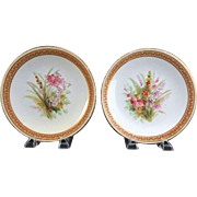 REDUCED PAIR Of Exquisite Matching 1882 Royal Worcester Hand-Painted and Jeweled Porcelain Cab