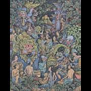 Outstanding Keliki Kawan Miniature Painting, Balinese Masterpiece