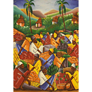 "Haitian School ""Baskets of Fruit""  Signed Original Oil On Canvas"