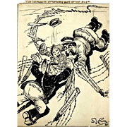 Original Signed Pen And Ink Political Cartoon, Circa 1940, By Honored Medal Recipient S. J ...