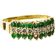 Emerald, Diamond and 14 Karat Yellow Gold Ring, Lady's Elegant And Understated Treasure