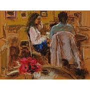 "JOAN MARTI (Spanish 1936 - 2009)  ""Cafe Patachan, Paris"" - Signed Pastel on Paper"