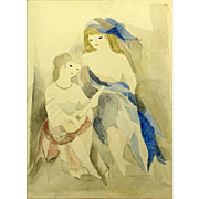 """MARIE LAURENCIN (French 1885 - 1956) ORIGINAL Signed Watercolor """"Two Girls"""""""