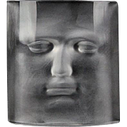 """REDUCED DAUM Signed Crystal Sculpture Paperweight """"Face"""" by Roy Adzak"""
