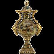 Japanese Royal Satsuma Porcelain Gilt Double Handled Lidded Vase