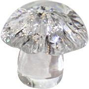 Daum France Signed Fine Crystal Mushroom Paperweight