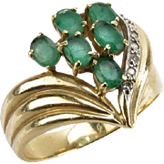 SOLD Diamond and Emerald Heart Shaped Ring, 14 Karat Yellow Gold, Ladies