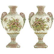 SALE PAIR of Matching Hand-Painted Royal Rudolstadt Floral Decorated Shaped Urn Vases