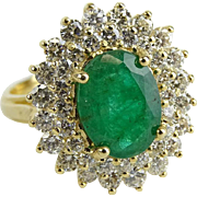 REDUCED Absolutely Magnificent 3.50 Carat Emerald, 1.50 Carat Diamonds, 14 Karat Yellow Gold .