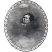 REDUCED 19th Century Stipple Engraving Of Napoleon In Clouds Surrounded By 38 Stars With Names