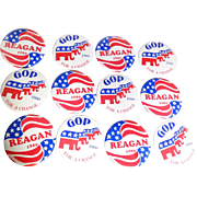 REAGAN and GOP Campaign Buttons - Six of Each!