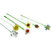REDUCED SIX Art Glass Long-Stemmed Multi-Colored Flowers
