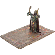 Vienna Cold-Painted Bronze Of Arab On Prayer Rug