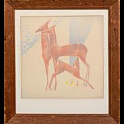 """WILLIAM ERNST HENTSCHEL (American, 1892 - 1962) Original Signed Airbrush """"Feeding Time"""""""