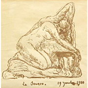 "Hector Joseph Lemaire  (French, 1846-1933) Original Antique Ink On Paper,  ""La Source"""