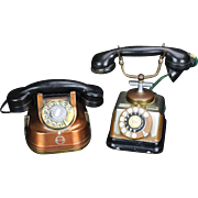 REDUCED 2 Art Deco Rotary Style Phones, Copper, C. 1930