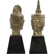 REDUCED PAIR of Chinese Bronze Busts Of Guan Yin, Goddess of Mercy and Fertility, On Wooden Ba